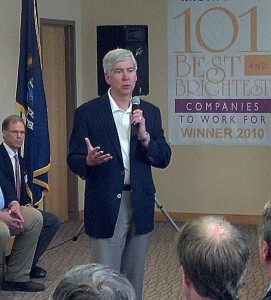 Governor Rick Snyder addresses the crowd at MGH in Marquette, MI.