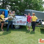 Prusi Brothers in Front (Lion's Fans, Under Protest) of 98.3 WRUP Poster -  Where Packers will be this Fall - Go Pack Go