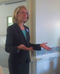 Terri Lynn Land addresses voters in Marquette.