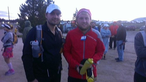 Jon and Joe Vizena are warming very early prior to the 6am start in Leadville
