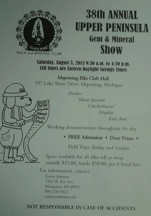 Poster of the 38th Annual Gem and Mineral Shop at Ishpeming Elks Club