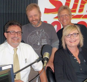 "Rick Bissonnette, Scott Kirtley, Dean Moilanen and Jayne Letts at the SUNNY Studios.  (This pic screams. ""SITCOM!!"")"