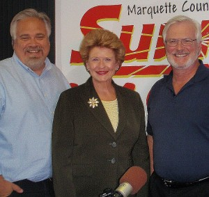U.S. Senator Debbie Stabenow with Walt Lindala and Mike Plourde.