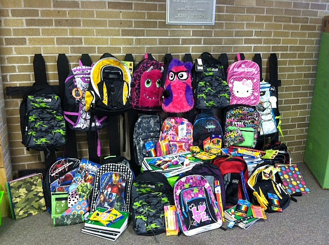 Free back packs for the kids with school supplies in Harvey