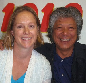Skiing Pioneers Kirsten Clark and Wayne Wong in the SUNNY Studios.