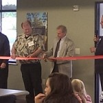 Randy Girard gets ready to cut the Ribbon at the all new Marquette Township Facilities on Commerce Drive