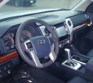 A shot of the interior of the 2014 Toyota Tundra.