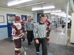 Making their way to the ice for the start of the third period