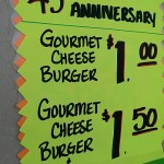 Gourmet Cheeseburgers are being served up during the 1 Day Meat Sale at Tadych's Econo Foods in Marquette