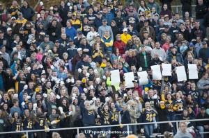 Negaunee Miners fans fill the stadium in Ishpeming to support their team during the high school varstiy football game against the Hematites on Friday, Oct. 11, 2013 in Ishpeming, MI. (UPsportsphotos.com image by Ronen Zilberman)