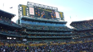 "One of the brand new ""Jumbotrons"" that Lambeau Field has to offer."