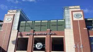 "The ""Front"" gate to Lambeau Field.  The Oneida Nation gate.  This, combined with the Atrium on Lombari are the most popular entrances."