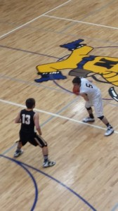 Eric Lori on offense during the Miners' 66-44 victory on 1/30/2014 on SunnyFM