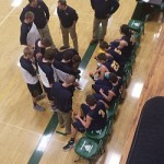 In the huddle during the first quarter.