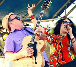 George Friend and Laura Rain in action at the 2013 Marquette Area Blues Fest.