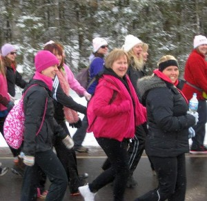 U.P. Pink Power Walkers On The Road.