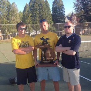 Head Coach Kyle Saari (center) holding the trophy along with Cody Scanlon (left) & Danny Fischett (right)