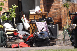 There is a variety of stuff at a garage sale