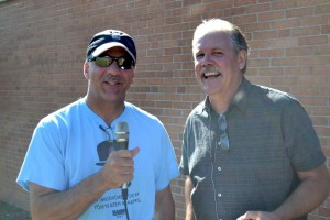 Gwinn Superintendent Tom Jayne & Sunny FM's Gordy Mielke at Gilbert Elementary in Gwinn