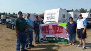 Win the Meat Sponsors! (Left to right) Dave and Dan Bahrman of Hiawathaland Bureau, Ron Lauren of Honor Credit Union, Sue Sicotte from Rainbow Packing of Escanaba and Todd Noordyk from Great Lakes Radio (James Goriesky from the Marquette County Fair Board not pictured)