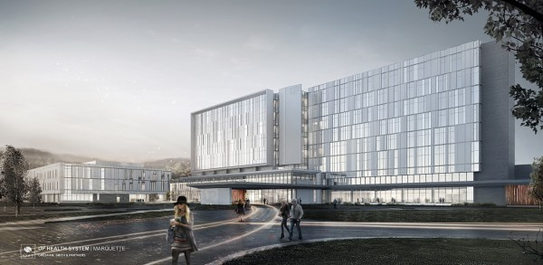 Architectural Rendering of the new UP Health System - Marquette facility in Summer
