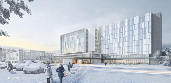 Architectural Rendering of the new UP Health System - Marquette facility in Winter