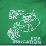 The awesome t-shirts purchasable at the Wildcat Stride for Education 5K with the Phi Sigma Sigmas