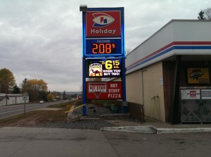 Gas is low at a Lanse Holiday Station!