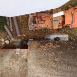 A view down from the bucket - 55 ft up