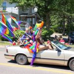 The U.P. Rainbow Pride drag ladies in their colorful car!