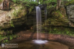 The shot from the front of Scott Falls in Alger County taken by Saddleback Photography
