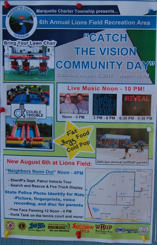 Marquette Charter Township 6th Annual Lions Field Recreation Area Catch The Vision Community Day - 2016