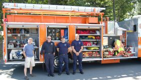 Marquette Charter Township Fire Truck and Crew with Township Manager
