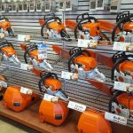 Check of the wall of STIHL Chainsaws at Four Seasons Small Engine