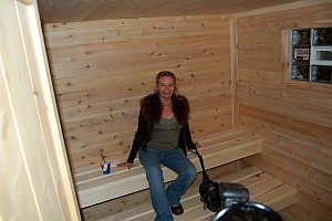 Winner Pam Paris Inside Sauna Outside of River Rock Lanes and Baquette Center