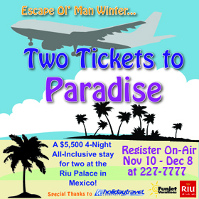 Register to Win On-Air Two Tickets to Paradise