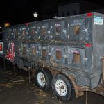 One of the dog trailers that brought the teams to the UP200!