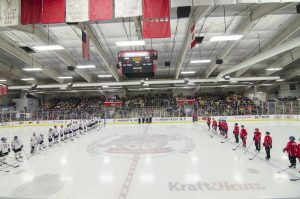 The two teams lined up on the ice.