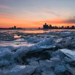 """Fire and Ice"" - a shot of the Detroit skyline from Belle Isle during sunset - Photo by Michael Tokarz Photography"