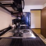 Each room has a complete kitchenette with two oven burners.