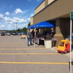 Getting set up for the Marquette Co. Youth Football Fundraiser at Super One Foods in Negaunee