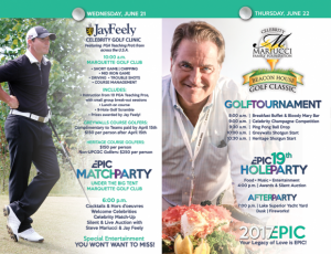 Celebrity Golf Outing festivities will begin Wednesday June 21st.