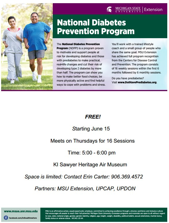 Pre-Diabetes Class Starting June 15h at KI Sawyer Heritage Air Museum