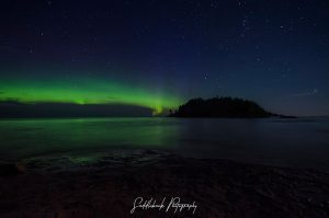 The Northern Lights from Sunday July 16, 2017 over Little Presque Isle - Photo by Saddleback Photography