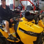 Mike showing off one of the Cub Cadet lines.