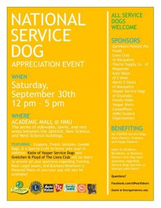 Attend the National Service Dog Appreciation Event at NMU this Saturday!
