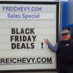 The Major pointing out the great deals at Frei Chevrolet