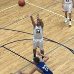 Jake Hill taking one of his many shots of the night! Miners defeated the Copper Kings 52-45 on Sunny.FM