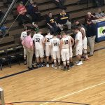 Time-out during the Negaunee Miners Boys basketball VS Menominee Maroons game.