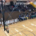 National Anthem before the game. Miners VS Emeralds boys basketball.
